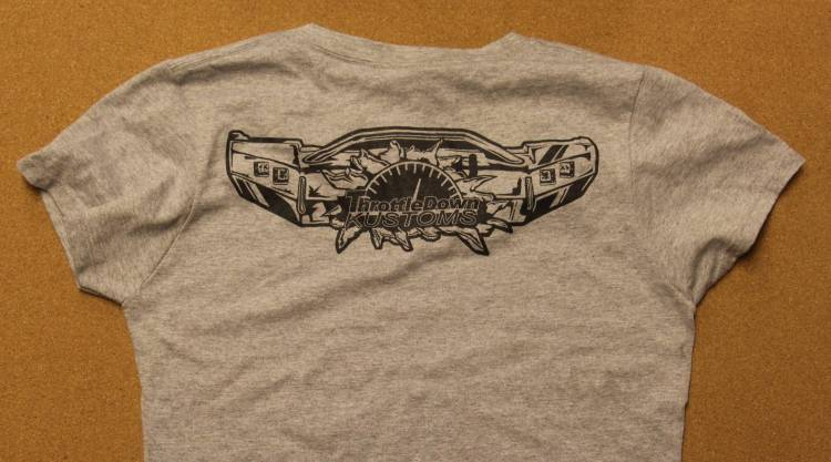 Throttle Down Kustoms - Womens Grey Tshirt Large
